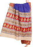 Kalamkari dyed saree with Patly pallu  [Blue] - cotton(23115B)* Sale Rs.200 off *, Sarees - Swadeshi Boutique