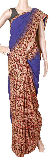 * Summer Sale Rs.200 off * Kalamkari dyed saree with Patly pallu with a beautiful design [Blue] - cotton(23115C)