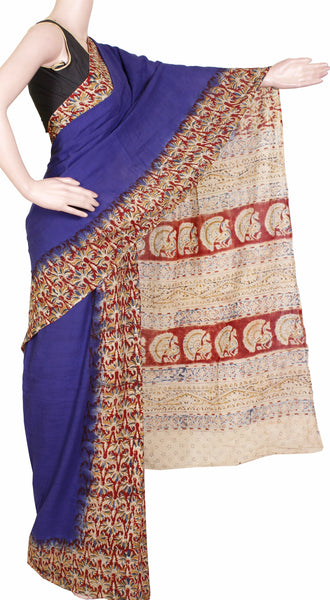 Kalamkari naturally dyed saree with Patly pallu [Blue] - cotton(23116B)  *sale 50% off *, Sarees - Swadeshi Boutique