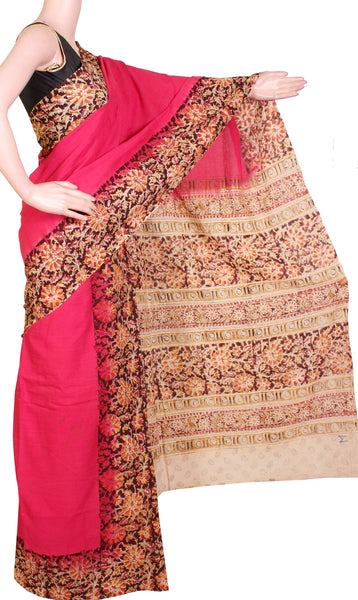 Kalamkari dyed saree with Patly pallu with a design [Pink] - cotton(23117A)*  Sale 50% Off *, Sarees - Swadeshi Boutique