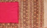 * No GST Sale 50% Off * Kalamkari dyed saree with Patly pallu with a beautiful design [Pink] - cotton(23117A)