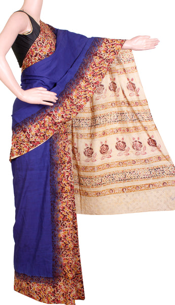 * No GST Sale 50% Off  * Kalamkari dyed saree with Patly pallu with a beautiful design [Blue] - cotton(23118B)