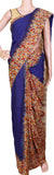Kalamkari dyed saree with Partly pallu with a beautiful design [Blue] - cotton(23118D)
