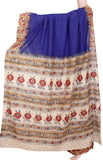 Kalamkari dyed saree with Partly pallu with a beautiful design [Blue] - cotton(23118D), Sarees - Swadeshi Boutique