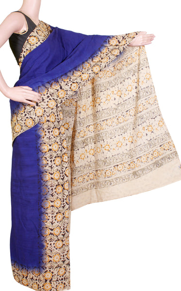 * Summer Sale Rs.200 off * Kalamkari dyed saree with Patly pallu with a beautiful design [Blue] - cotton(23119B)