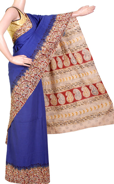 Kalamkari dyed saree with Patly pallu [Blue] - cotton(23127B) *Sale 50% Off *