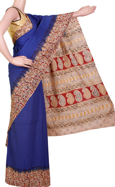Kalamkari dyed saree with Patly pallu with a beautiful design [Blue] - cotton(23127B)