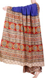 Kalamkari dyed saree with Patly pallu with a beautiful design [Blue] - cotton(23128B)