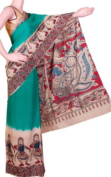 Kalamkari dyed saree with dancing dolls border and Peacock pallu [green] - cotton(23130A)