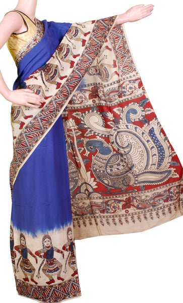 Kalamkari dyed saree with dancing dolls border and Peacock pallu [Blue] - cotton(23131B)