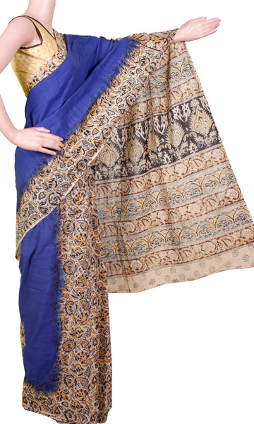* No GST Sale Rs.200 off * Kalamkari dyed saree with Patly pallu with a beautiful design [Blue] - cotton(23132B)
