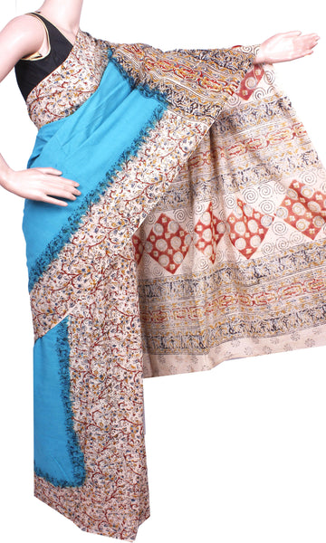 Kalamkari dyed saree with Patly pallu with a beautiful design [Sky Blue] - cotton(23135C)* No GST Sale Rs.200 off *, Sarees - Swadeshi Boutique