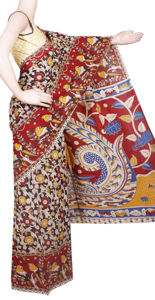 Kalamkari dyed saree with Peacock in Body and pallu [Black & Red] - cotton(23151D)