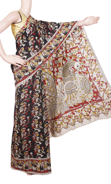 Kalamkari dyed saree with Peacock in pallu [Black and red] - cotton(23152A)