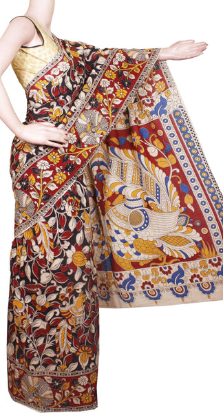 Kalamkari dyed saree with Peacock in Body and pallu [Black & Red] - cotton(23153C)