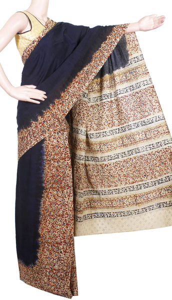 Kalamkari dyed saree with Partly pallu with a beautiful design on pallu and border [Black] - cotton(23155B)