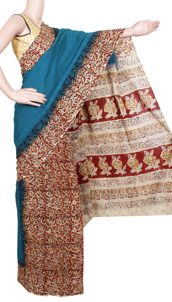 Kalamkari dyed saree with patly pallu design with an attached blouse [Green] - cotton(23157A), Sarees - Swadeshi Boutique