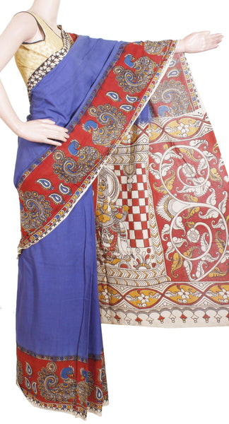 Kalamkari dyed saree with a Peacock in Border and Krishna in Pallu [Blue] - cotton(23159A)