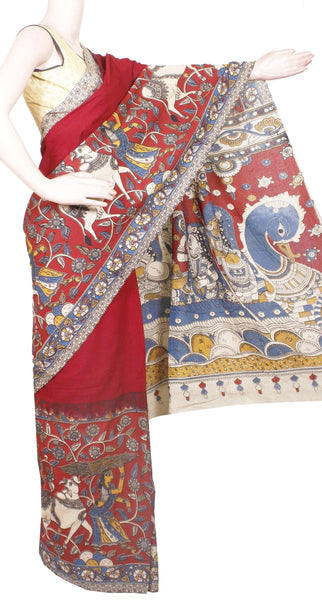 Kalamkari dyed saree with Swan Boat in Pallu [Maroon] - cotton(23162B)