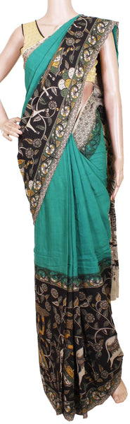 Kalamkari dyed saree with Swan Boat in Pallu [Green] - cotton(23162C)