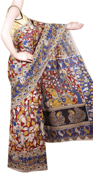 Kalamkari dyed saree with Peacock in Body and pallu [Red & Blue] - cotton(23167A)