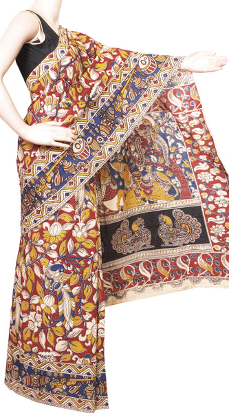 Kalamkari dyed saree with Peacock in Body and Pallu & Border[Red]  - cotton(23167B)