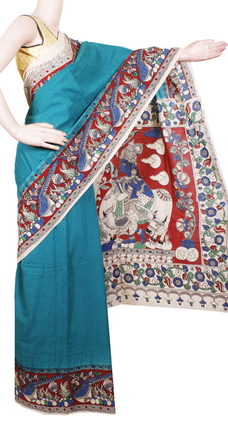 Kalamkari dyed saree with Krishna-Ratha in pallu [Green] - cotton(23175A)