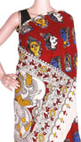 Kalamkari dyed saree with faces in Body & blouse with Krishna in pallu [Red] - cotton(23180B), Sarees - Swadeshi Boutique