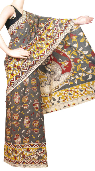 Kalamkari dyed saree with Music Instruments in Body and Peacock in Pallu & Border[Ash]  - cotton(23211A)