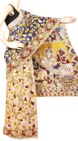 Kalamkari dyed saree with Radha-Krishna in pallu and Peacock in Border[Blue]  - cotton(23214A)