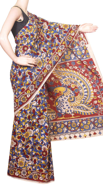 Kalamkari dyed saree with Flourals in Body and Peacock in  Pallu[Blue]  - cotton(23216A)