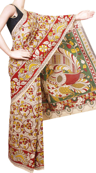 Kalamkari dyed saree with Beautiful Flourals and Peacock in Border & Pallu[Beige]  - cotton(23218A)