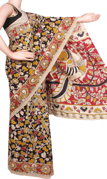 Kalamkari dyed saree with Flowers in Body & Peacock in Pallu[Black]  - cotton(23223A)