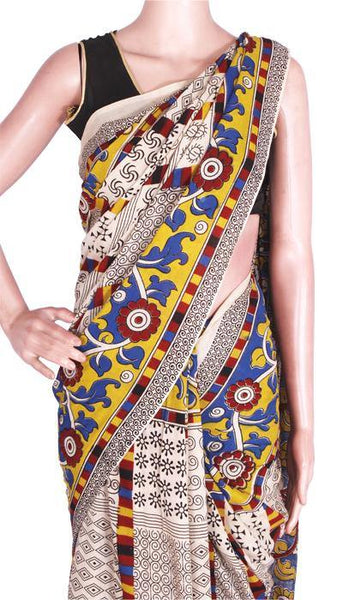 Kalamkari dyed saree with Flowers in Border & Peacock in Pallu[Beige]  - cotton(23225A), Sarees - Swadeshi Boutique