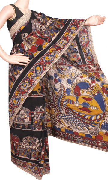 Kalamkari dyed saree with Flowers in Body & Peacock in Pallu[Black]  - cotton(23240A)