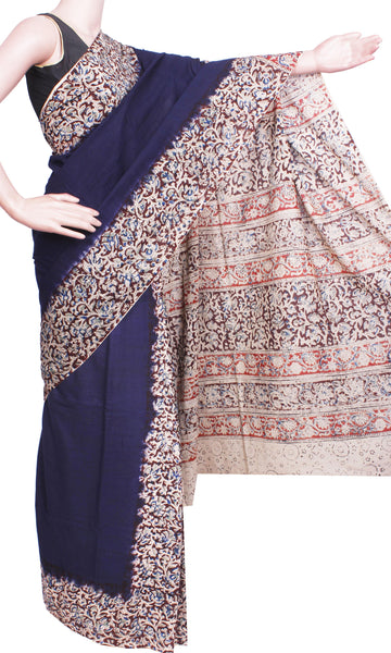 Kalamkari Saree plain with partly pallu [Navy Blue] - cotton(23243A) *Sale Rs.200 off*, Sarees - Swadeshi Boutique