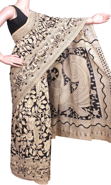 Kalamkari all over pattern saree with Beautiful matching blouse & Pallu [Black]  - cotton(23244A), Sarees - Swadeshi Boutique