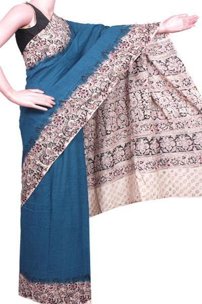 Kalamkari dyed plain saree with Patly pallu design [Green] - cotton(23258A)