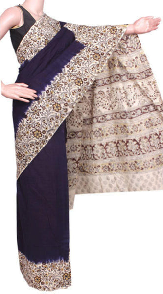 Kalamkari dyed saree with Patly pallu with a beautiful design [Navy Blue] - cotton(23258C)