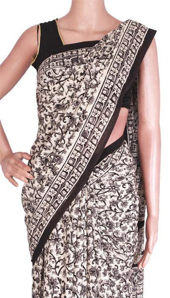 Kalamkari Block print saree with Beautiful matching blouse & Pallu [Beige]  - cotton(23264A)