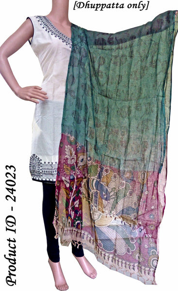 Kalamkari Kota Cotton pattern with instruments (Dhuppatta Only)  - Gray (24023), Chudi - Swadeshi Boutique