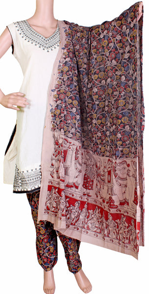 Kalamkari Cotton pattern salwar material (Flowers - Black) (24036A)  (2 piece set)* Sale 50% Off *, Chudi - Swadeshi Boutique