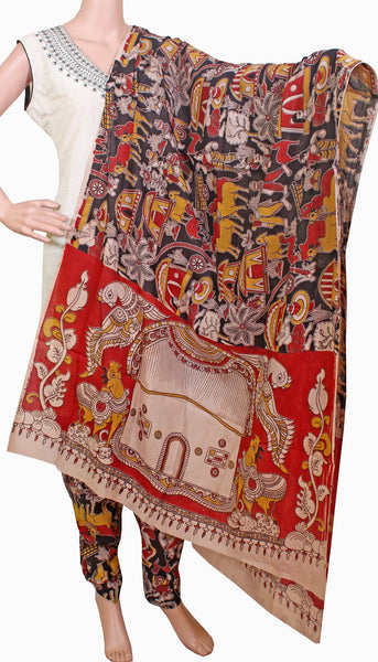 Kalamkari Cotton pattern Chudi material (Village theme - Black) (24048B)  (2 piece set) - Swadeshi Boutique