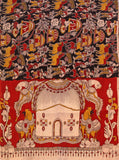 Kalamkari Cotton pattern Chudi material (Village theme - Black) (24048B)  (2 piece set), Chudi - Swadeshi Boutique