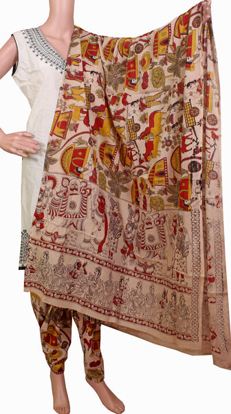Kalamkari Cotton pattern Chudi material (Village theme - Beige) (24048C)  (2 piece set) - Swadeshi Boutique