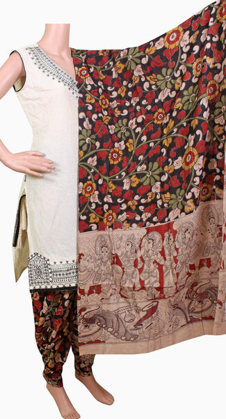 Kalamkari Cotton pattern Chudi material (Florals - Black) (24050A)  (2 piece set) - Swadeshi Boutique