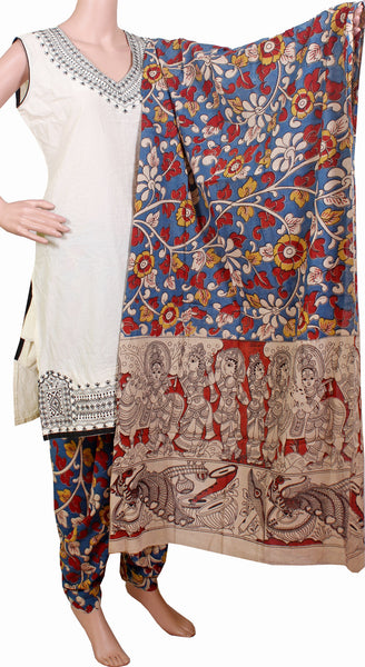Kalamkari Cotton pattern Chudi material (Florals - Blue) (24050B)  (2 piece set), Chudi - Swadeshi Boutique