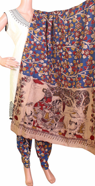 Kalamkari Cotton pattern salwar material (Florals - Blue) (24050C)  (2 piece set)