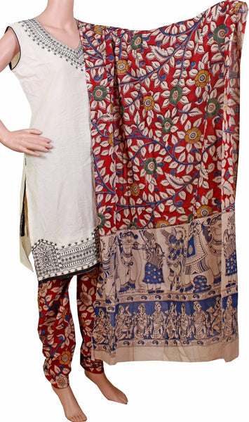 * No GST Sale 50% Off * Kalamkari Cotton pattern salwar material (Florals - Red) (24051A)  (2 piece set)