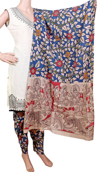 Kalamkari Cotton pattern salwar material (Florals - Blue) (24051B)  (2 piece set)